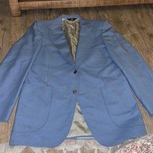 Vintage Men's Light Blue Suit Jacket